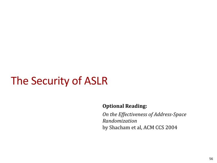 The Security of ASLR