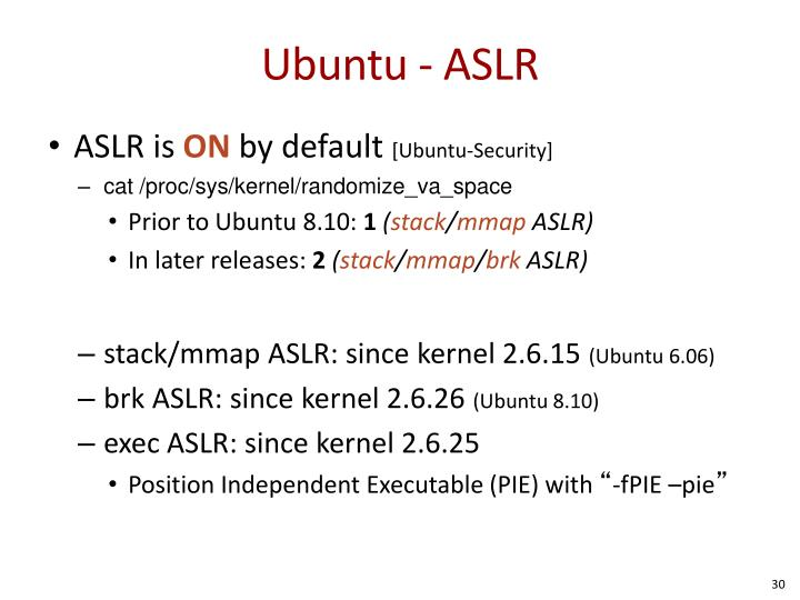 Ubuntu - ASLR
