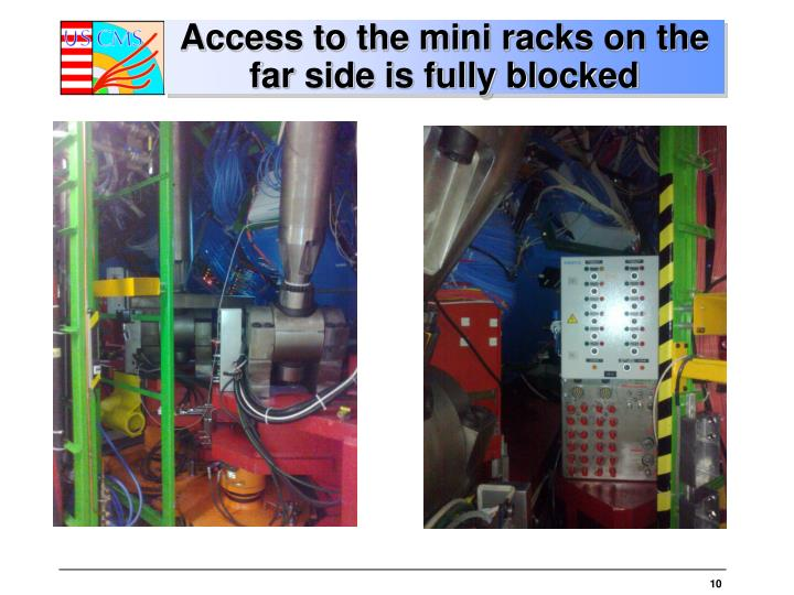 Access to the mini racks on the far side is fully blocked