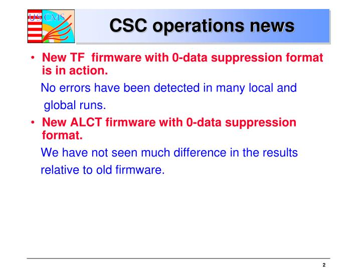 Csc operations news