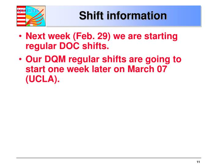 Shift information