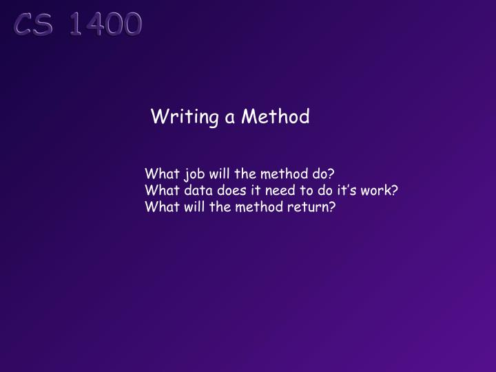 Writing a Method