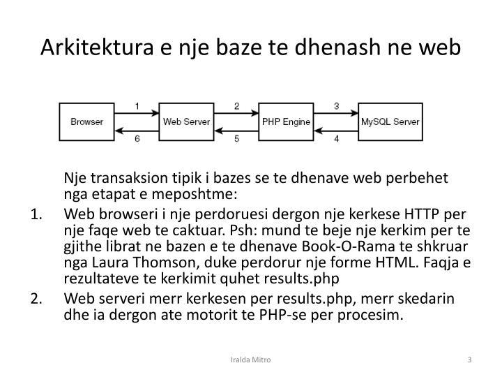 Arkitektura e nje baze te dhenash ne web