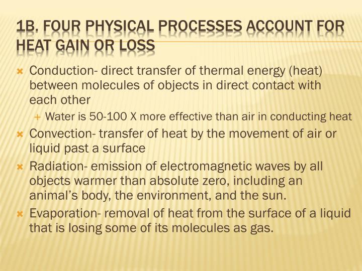 Conduction- direct transfer of thermal energy (heat) between molecules of objects in direct contact with each other