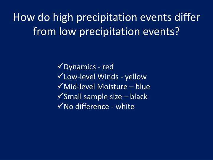 How do high precipitation events differ from low precipitation events?