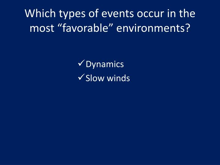 "Which types of events occur in the most ""favorable"" environments?"
