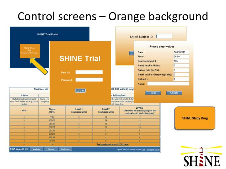 Control screens – Orange background