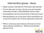 intervention group meals
