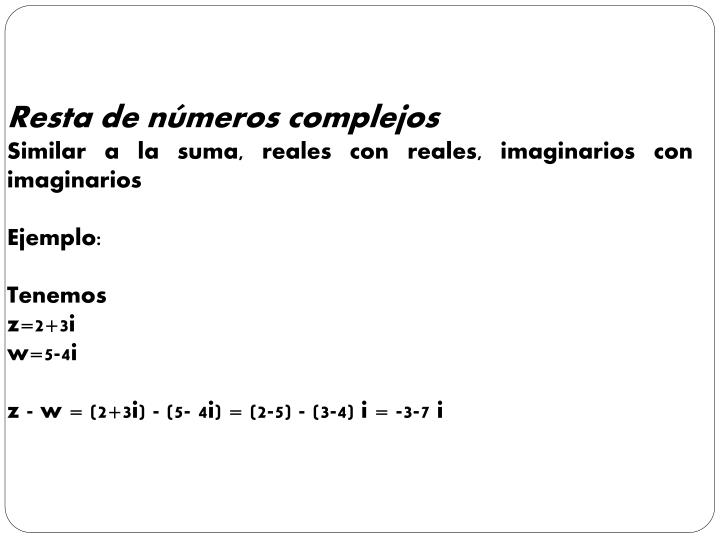Resta de números complejos