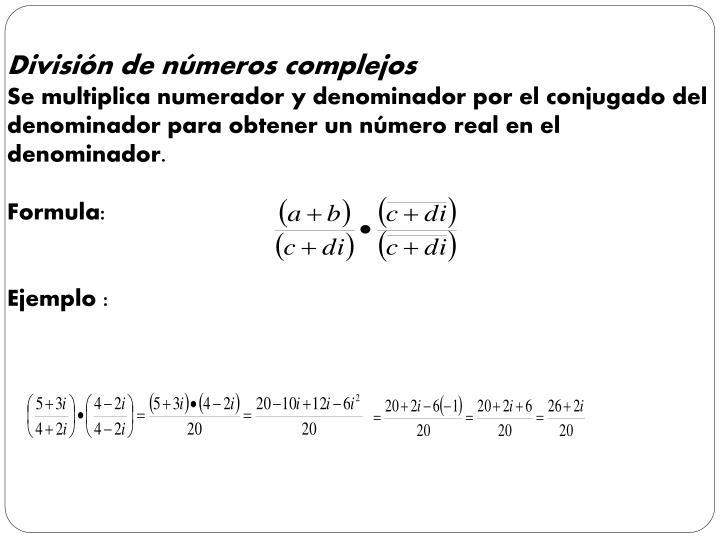 División de números complejos