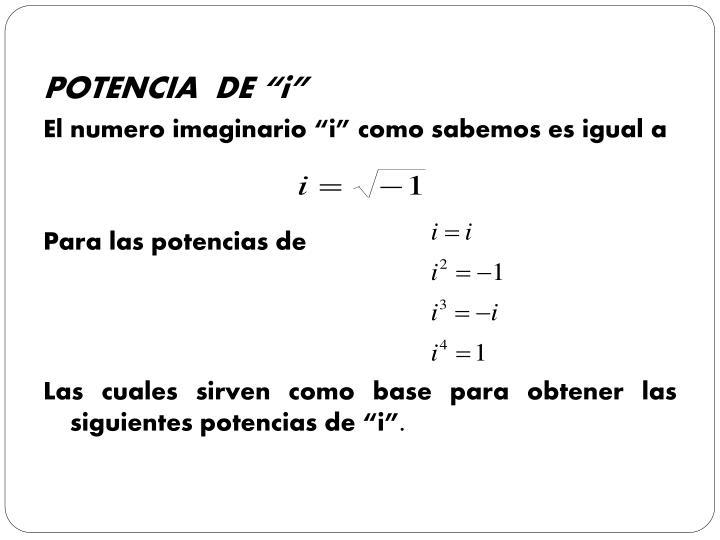 "POTENCIA  DE ""i"""