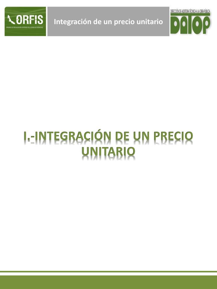 Integración de un precio unitario