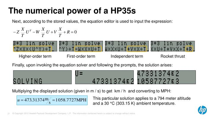 The numerical power of a HP35s