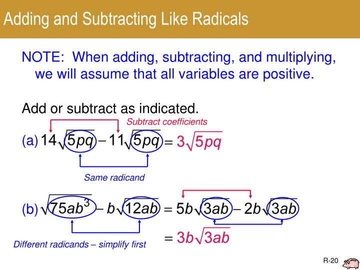 Adding and Subtracting Like Radicals
