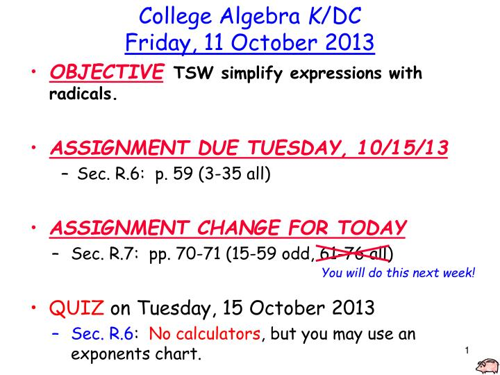 College algebra k dc friday 11 october 2013