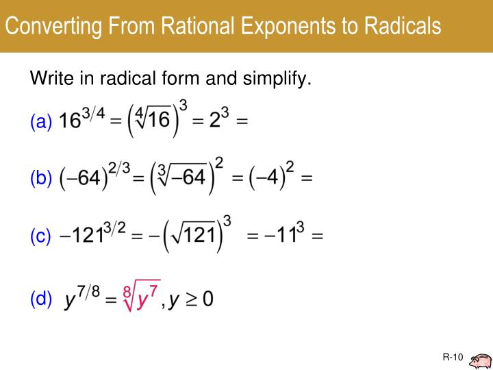 Converting From Rational Exponents to Radicals