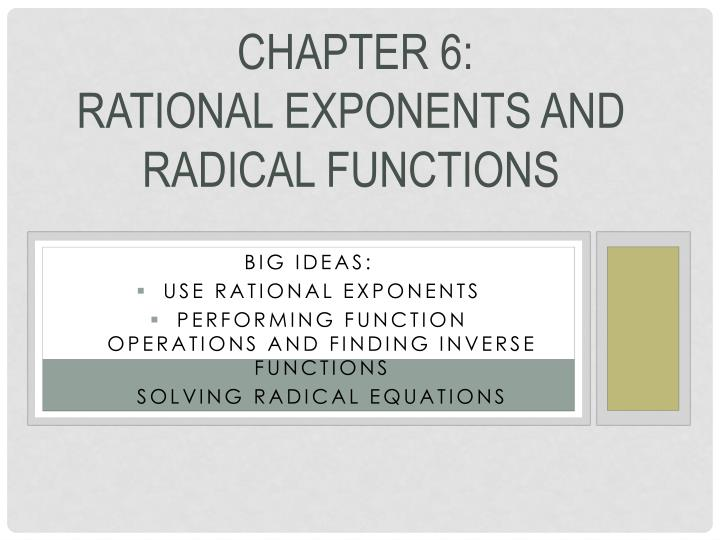 Chapter 6 rational exponents and radical functions