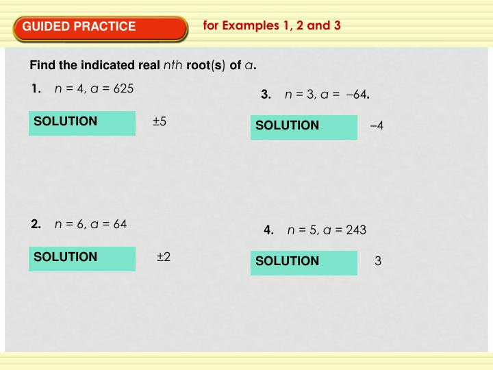 for Examples 1, 2 and 3