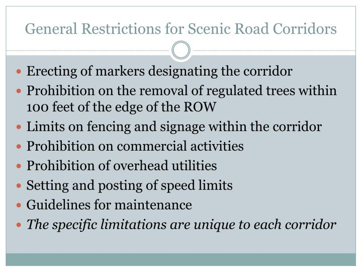General Restrictions for Scenic Road Corridors
