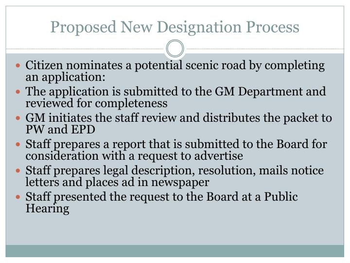 Proposed New Designation Process