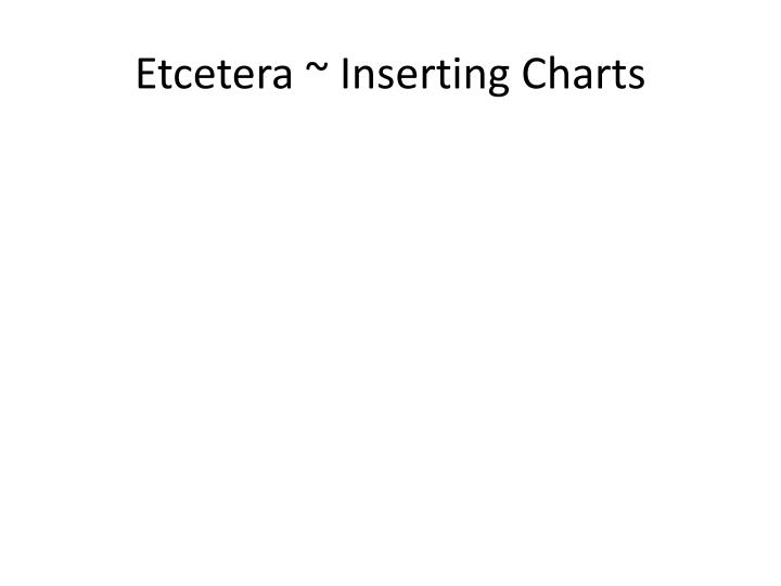 Etcetera ~ Inserting Charts