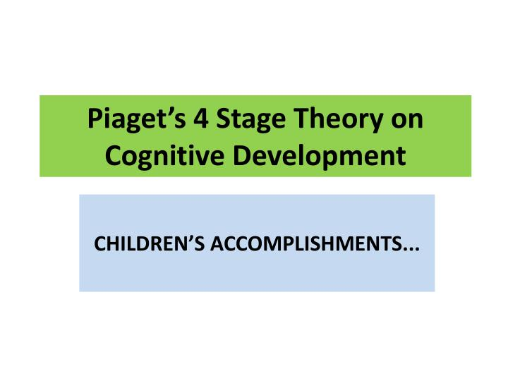 the theory of the stages of cognitive development by jean piaget Fueled by the curiosity to know why children had the wrong answers to questions that required logical thinking, jean piaget went from grading intelligence tests to conducting studies on cognitive development – which focuses on the nature and the development of human intelligence.