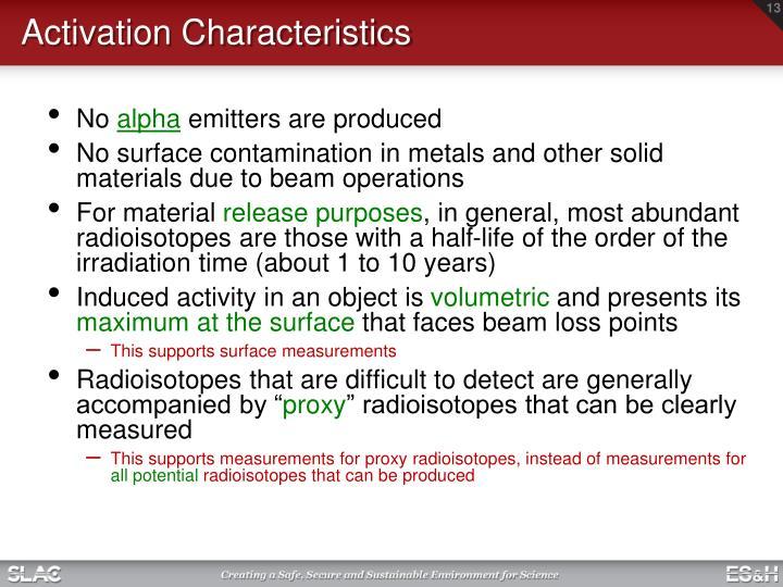 Activation Characteristics