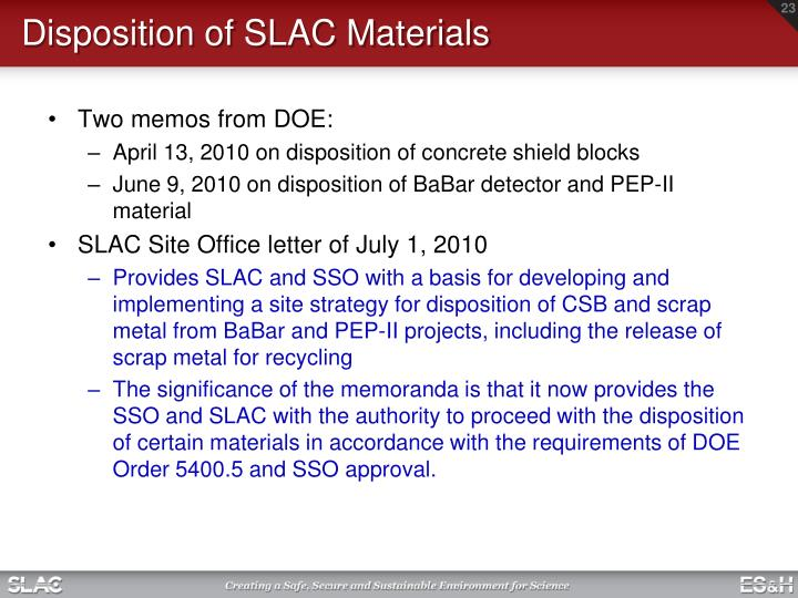 Disposition of SLAC Materials
