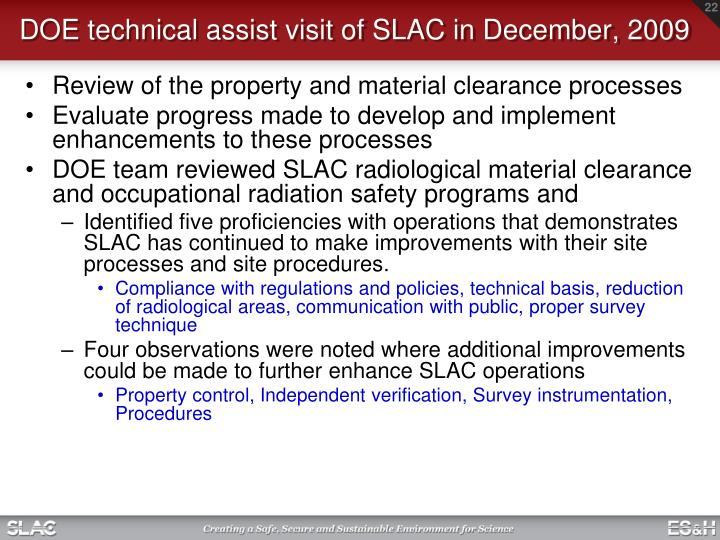 DOE technical assist visit of SLAC in December, 2009