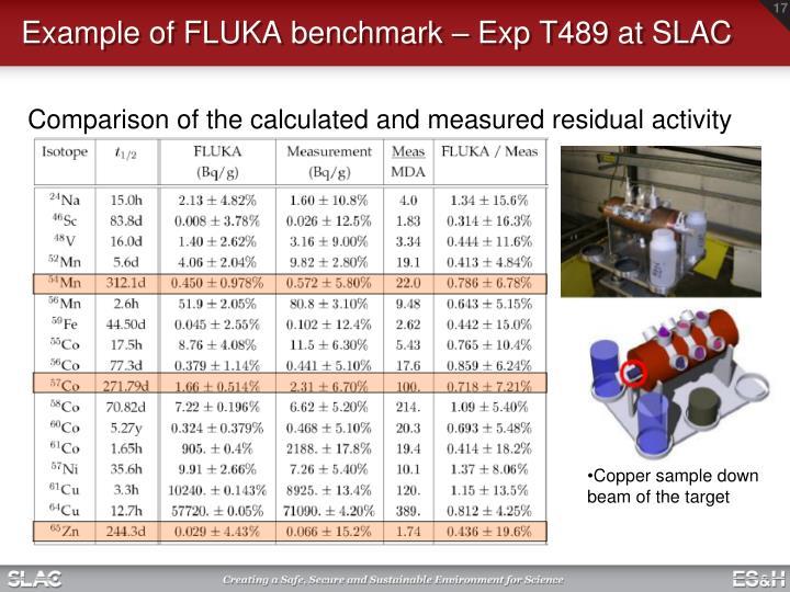 Example of FLUKA benchmark