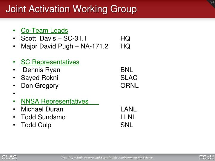 Joint Activation Working Group