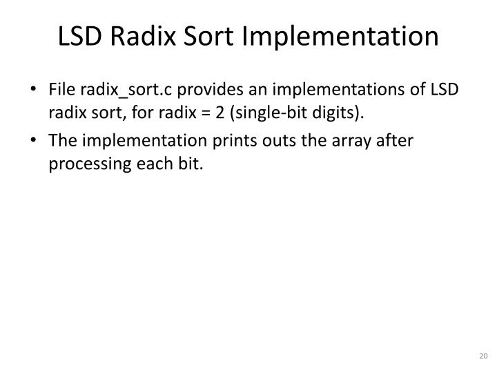 LSD Radix Sort Implementation