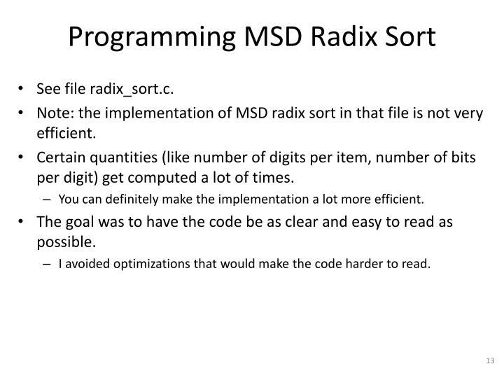 Programming MSD Radix