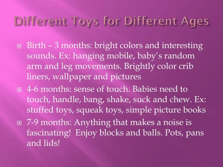 Different Toys for Different Ages