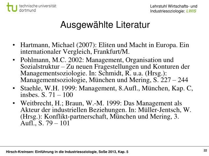 Hartmann, Michael (2007): Eliten und Macht in Europa. Ein internationaler Vergleich,