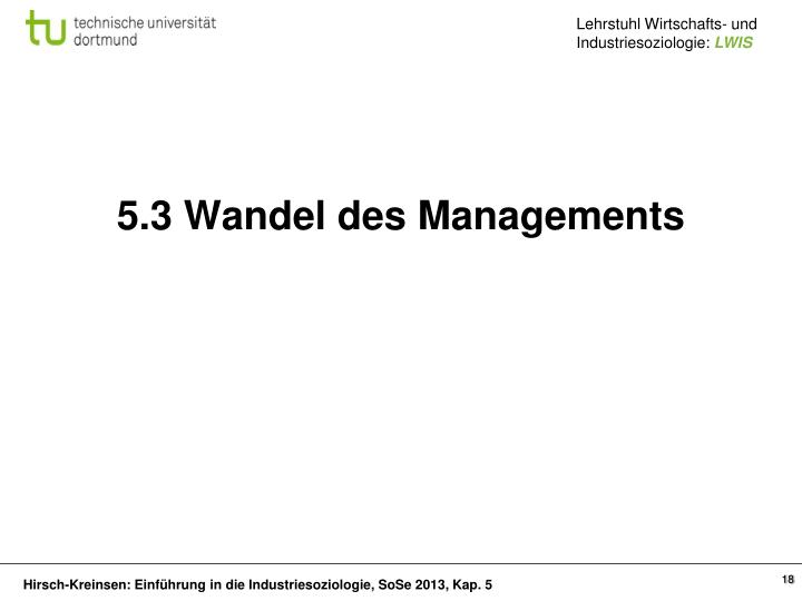 5.3 Wandel des Managements