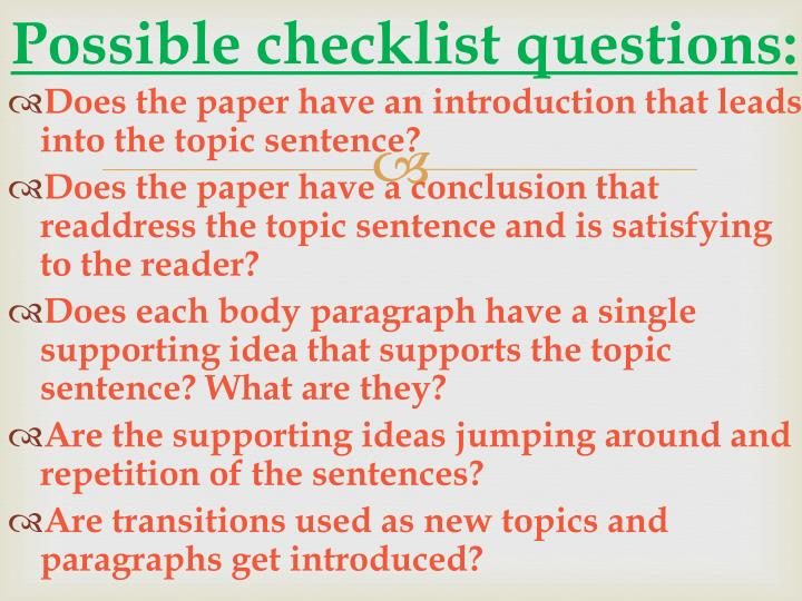 Possible checklist questions: