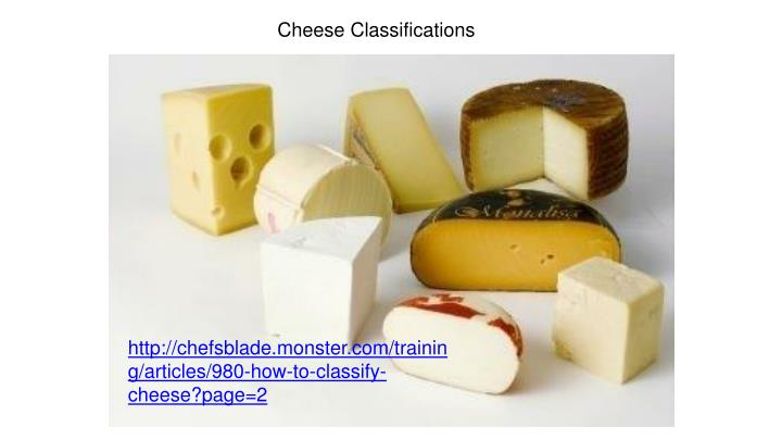 Cheese Classifications