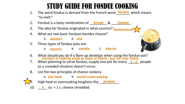 STUDY GUIDE FOR FONDUE COOKING