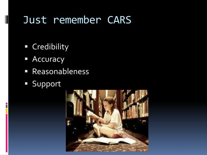 Just remember CARS
