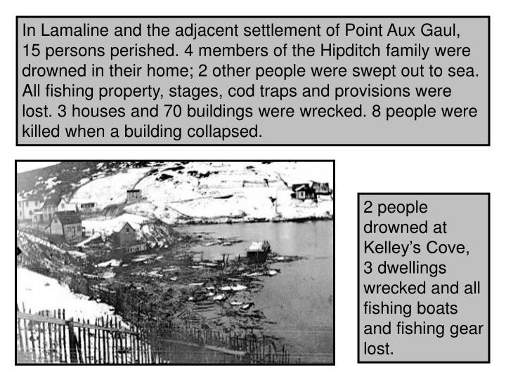 In Lamaline and the adjacent settlement of Point Aux Gaul, 15 persons perished. 4 members of the Hipditch family were drowned in their home; 2 other people were swept out to sea. All fishing property, stages, cod traps and provisions were lost. 3 houses and 70 buildings were wrecked. 8 people were killed when a building collapsed.