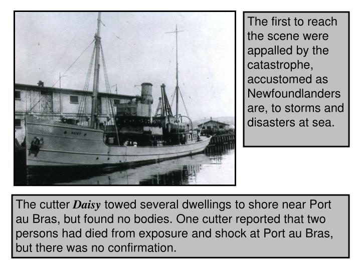 The first to reach the scene were appalled by the catastrophe, accustomed as Newfoundlanders are, to storms and disasters at sea.