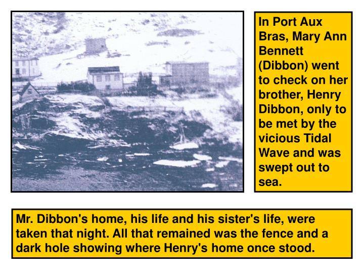 In Port Aux Bras, Mary Ann Bennett (Dibbon) went to check on her brother, Henry Dibbon, only to be met by the vicious Tidal Wave and was swept out to sea.