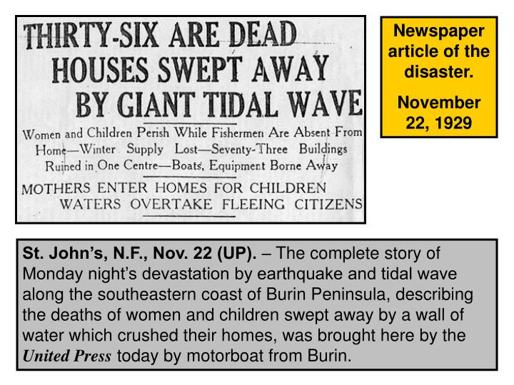 Newspaper article of the disaster.