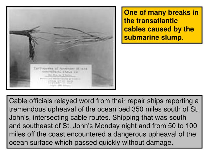One of many breaks in the transatlantic cables caused by the submarine slump.