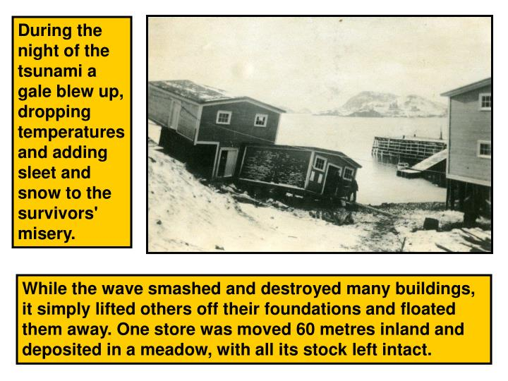 During the night of the tsunami a gale blew up, dropping temperatures and adding sleet and snow to the survivors' misery.