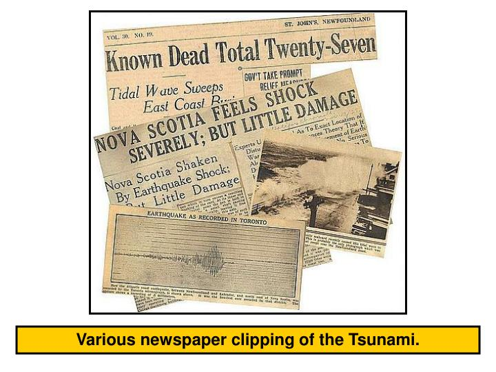 Various newspaper clipping of the Tsunami.