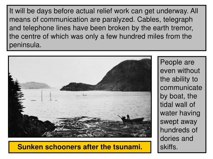 It will be days before actual relief work can get underway. All means of communication are paralyzed. Cables, telegraph and telephone lines have been broken by the earth tremor, the centre of which was only a few hundred miles from the peninsula.