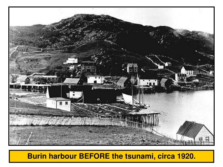 Burin harbour BEFORE the tsunami, circa 1920.