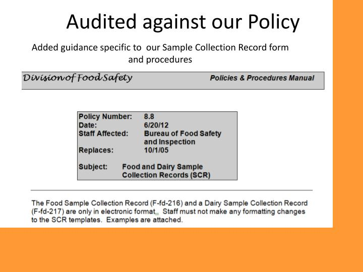 Audited against our Policy